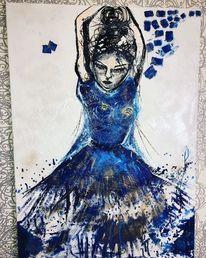 Menschen, Blau, Abstrakt, Malerei