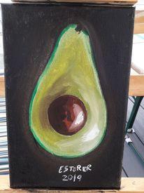 Grün, Ölmalerei, Früchte, Schwarz