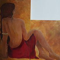 Acrylmalerei, Rot, Gemälde, Frau