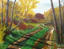 Himmel, Grün, Acrylmalerei, Herbst