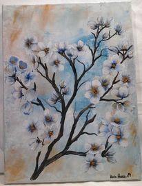 Kirschblüten, Braun, Schlafzimmer, Acrylmalerei