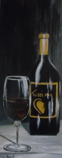Wein, Acrylmalerei, Weinflasche, Grau