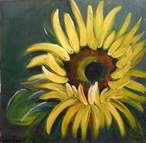 Grün, Modern, Sonnenblumen, Acrylmalerei