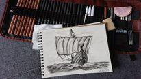 Kohlezeichnung, Segel, Wiking, Boot