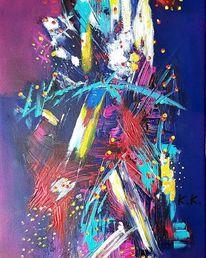 Malerei abstrakt, Feuerwerk, Party, Farbenexplosion