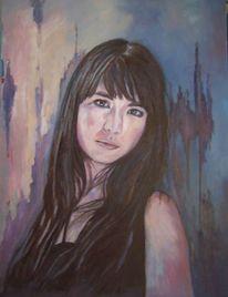 Frau, Portrait, Musiker, Ölmalerei