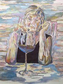 Portrait, Malerei, Weinglas, Frau