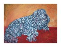Acrylmalerei, Hund, Blau, Malerei