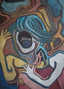 Frau, Monster, Malerei, Schrei