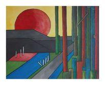 Einbahnstraße, Ende, Landschaft, Malerei
