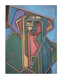Frau, Schirm, Abstrakt, Malerei