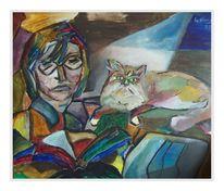 Buch, Malerei, Katze, Frau