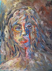 Farben, Frau, Portrait, Malerei