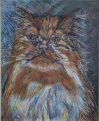 Malerei, Perser, Katze, Pastellmalerei