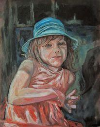 Mädchen, Blauer hut, Ölmalerei, Portrait