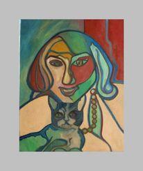 Malerei, Modern, Katze, Frau