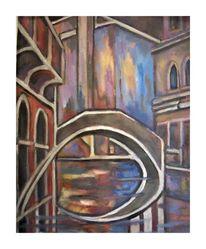 Nacht, Brücke, Venedig, Malerei
