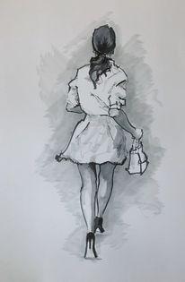 Bewgung, Zeichnung, Hohe schuhe, Frau