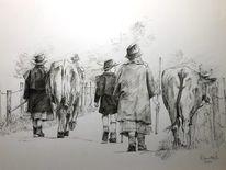 Allgäuer, Zeichnen, Natur, Kuh
