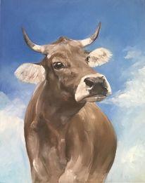 Kuh, Tiere, Allgäuer, Ölmalerei