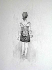 Bleistiftzeichnung, Frau, Spaziergang, Zeichnungen