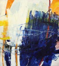 Ölmalerei, Blau, Gestisch, Schichtenmalerei