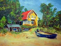Schweden, Ölmalerei, Landschaft, Gelbes haus