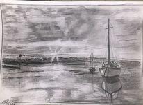 Hafen, Dämmerung, Bleistiftzeichnung, Zeichnungen