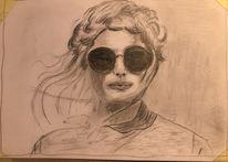 Bleistiftzeichnung, Mädchen mit sonnenbrille, Din a4 unvollendet, Zeichnungen
