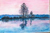 28 x40, Morgen am see, Aquarellmalerei, Aquarell