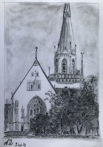 Rochuskapelle, Kirche, Bleistiftzeichnung, Zeichnungen