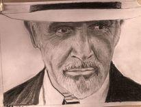 Sean connery, Portrait, Bleistiftzeichnung, Zeichnungen