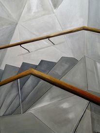 Treppe, Acrylmalerei, Madrid, Malerei