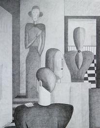 Schwarz, Weiß, Bleistiftzeichnung, Menschen
