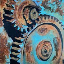 Acrylmalerei, Zahnrad, Rost, Malerei