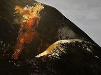 Landschaft, Acrylmalerei, Vulkan, Malerei
