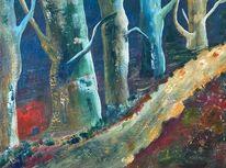 Acrylmalerei, Wald, Abstrakt, Malerei