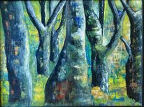 Wald, Baum, Acrylmalerei, Malerei