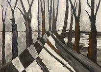 Acrylmalerei, Winter, Wald, Malerei