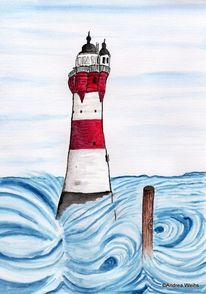 Aquarellmalerei, Leuchtturm, Blau, Roter sand