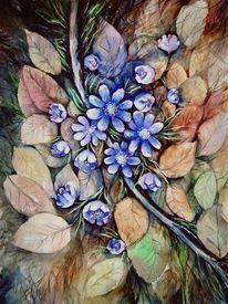 Blumen, Aquarellmalerei, Wald, Landschaft malerei