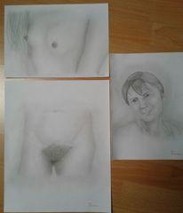Brust, Frau, Bleistiftzeichnung, Akt