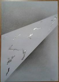 Bleistiftzeichnung, Blattmetall, Abstrakt, Mischtechnik