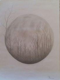 Bleistiftzeichnung, Baum, Kahl, Wald