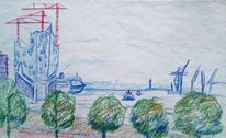 Elbphilharmonie, Elbe, Aussicht, Zeichnungen
