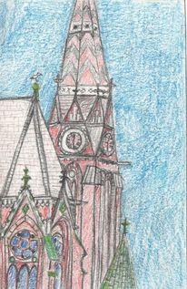Stadt, Zeichnung, Kirche, Zeichnungen