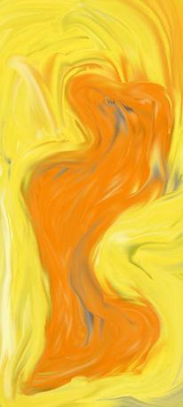 Frau, Orange, Gelb, Skulptur