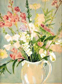 Martha krug, 1978 gemalt, Gartenstrauss, Aquarell