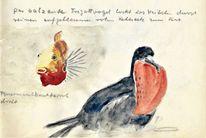Martha krug, Aquarellmalerei, Leipziger zoo, Skizze