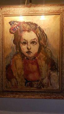 Gemälde, Mädchen, Schleife, Pinnwand